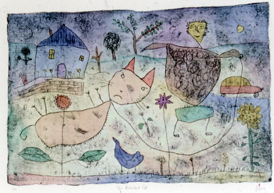 "<h4 style=""margin:0px 0px 5px 0px"">The reluctant cat</h4>Medium: Engraving on cement sheet/Hand coloured<br />Price: Currently Unavailable 