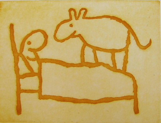 "<h4 style=""margin:0px 0px 5px 0px"">dog on bed</h4>Medium: Etching<br />Price: Currently Unavailable 