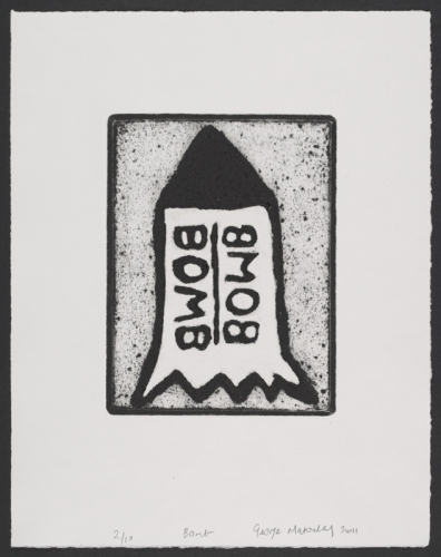 "Bomb <br /><br />Medium: Collograph Framed<br />Price: $480<br /><a href=""Artwork-Matoulas-Bomb-2847.htm"">View full artwork details</a>"