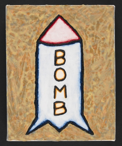 "Bomb<br /><br />Medium: Acrylic on canvas<br />Price: $1,000<br /><a href=""Artwork-Matoulas-Bomb-2870.htm"">View full artwork details</a>"