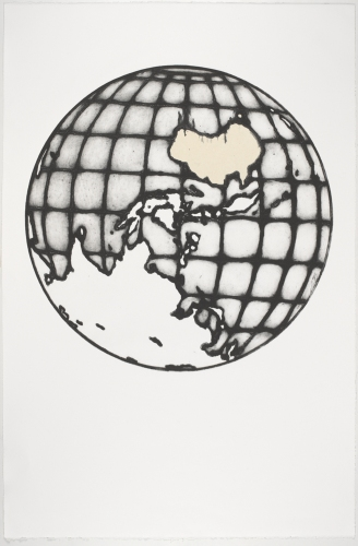"Earth 1 ( Map of the Worls 2)<br /><br />Medium: Collograph chine colle Framed<br />Price: $1,950<br /><a href=""Artwork-Matoulas-Earth1MapoftheWorls2-2836.htm"">View full artwork details</a>"