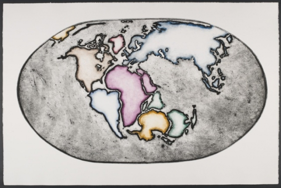 "Earth at about 180 million years ago...<br /><br />Medium: Collograph Framed<br />Price: $2,200<br /><a href=""Artwork-Matoulas-Earthatabout180millionyearsago...-2858.htm"">View full artwork details</a>"
