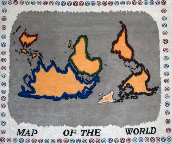 "Map of the World<br /><br />Medium: Hand spun, dyed and woven 100% pure Tibetan wool<br />Price: $3,500<br /><a href=""Artwork-Matoulas-MapoftheWorld-2876.htm"">View full artwork details</a>"