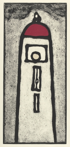 "<h4 style=""margin:0px 0px 5px 0px;"">Pharos on land</h4>Medium: Collograph chine colle, Framed<br />Price: $850 <span style=""color:#aaa"">