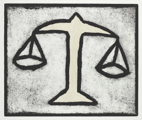 "<h4 style=""margin:0px 0px 5px 0px"">Scales of Justice 2</h4>Medium: Collograph, chine colle, Framed<br />Price: $750 