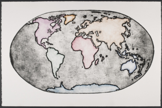 "The modern earth<br /><br />Medium: Collograph, chine colle Framed<br />Price: $2,200<br /><a href=""Artwork-Matoulas-Themodernearth-2857.htm"">View full artwork details</a>"