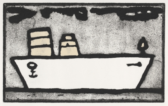 "boat 2 <br /><br />Medium: Collograph, chine colle, Framed<br />Price: $720<br /><a href=""Artwork-Matoulas-boat2-2832.htm"">View full artwork details</a>"