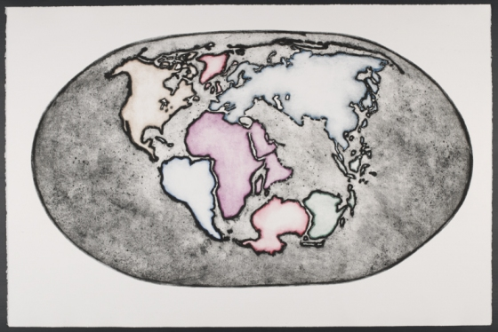"<h4 style=""margin:0px 0px 5px 0px"">Earth at about 120 million years ago... by George Matoulas</h4>Medium: Collograph Framed<br />Price: $2,200 