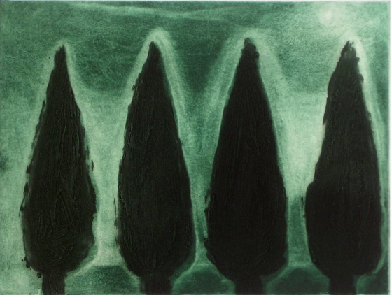 "<h4 style=""margin:0px 0px 5px 0px"">Four Cypress</h4>Medium: Etching/Collagraph<br />Price: $360 