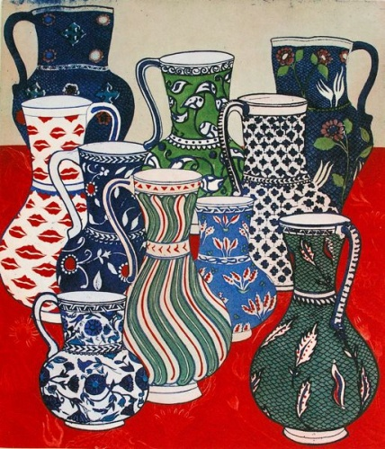 "<h4 style=""margin:0px 0px 5px 0px;"">Isnik Jugs</h4>Medium: Etching<br />Price: $1,550 <span style=""color:#aaa"">