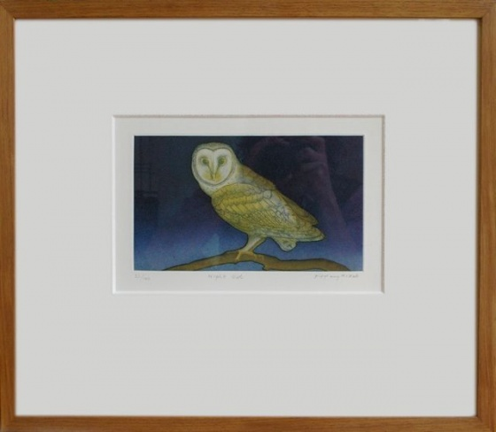"<h4 style=""margin:0px 0px 5px 0px"">Night Owl (framed)</h4>Medium: Etching<br />Price: $680 