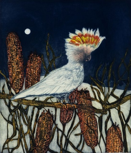 "<h4 style=""margin:0px 0px 5px 0px"">White Cockatoo</h4>Medium: Etching<br />Price: $1,550 