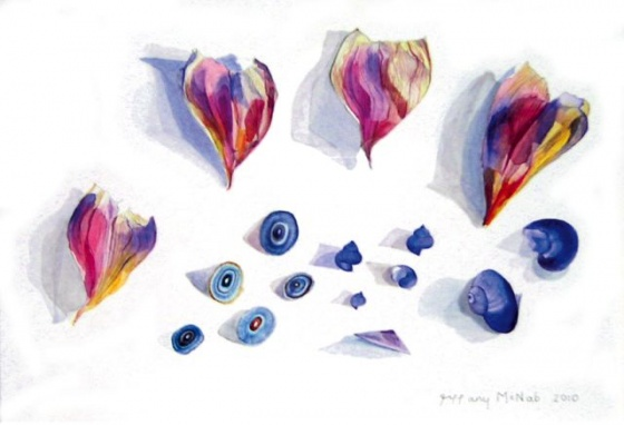 "<h4 style=""margin:0px 0px 5px 0px"">Agapanthus and Sea Snails by Tiffany McNab</h4>Medium: Watercolour<br />Price: Sold<span class=""helptip"" style=""color:#ff0000;"" title=""This artwork been sold""><img src=""/images/reddot1.gif"" border=""0"" height=""10"" /></span> 