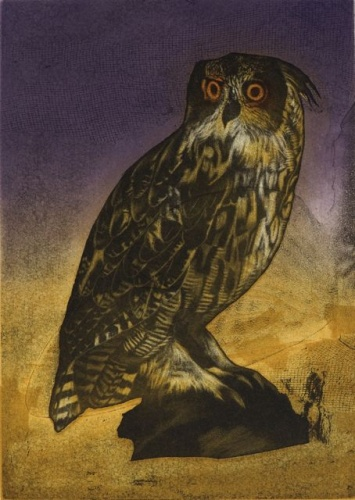 "<h4 style=""margin:0px 0px 5px 0px"">Eagle Owl by Tiffany McNab</h4>Medium: Etching<br />Price: $700 
