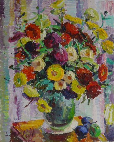 "<h4 style=""margin:0px 0px 5px 0px"">Flowers, vase and plums 1973</h4>Medium: Oil on board<br />Price: $7,500 