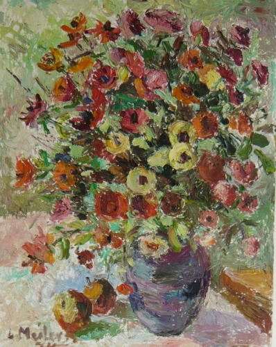"Vase, flowers and fruit 1974<br /><br />Medium: Oil on board<br />Price: $7,500<br /><a href=""Artwork-Meilerts-Vaseflowersandfruit1974-2963.htm"">View full artwork details</a>"