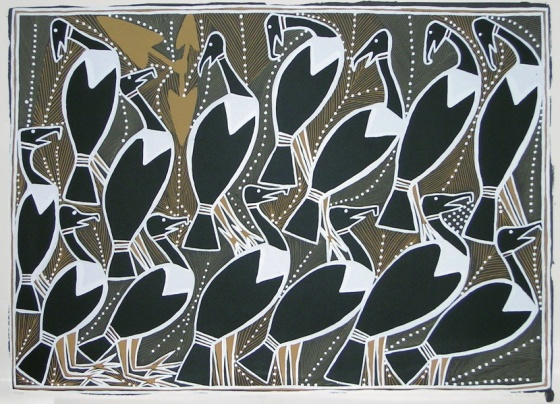 "Magpie Geese<br /><br />Medium: Screenprint<br />Price: Currently Unavailable<br /><a href=""Artwork-Milpurrurru-MagpieGeese-346.htm"">View full artwork details</a>"