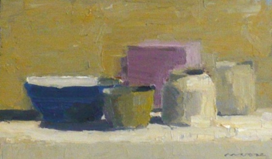 "Blue cup with pots<br /><br />Medium: Framed Oil on cedar<br />Price: $1,100<br /><a href=""Artwork-Moore-Bluecupwithpots-2570.htm"">View full artwork details</a>"