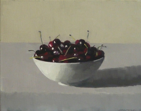"<h4 style=""margin:0px 0px 5px 0px;"">White bowl with cherries</h4>Medium: Oil on linen framed<br />Price: Sold <span style=""color:#aaa"">