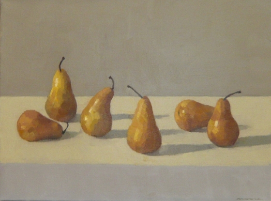 "<h4 style=""margin:0px 0px 5px 0px"">Golden pears by David Moore</h4>Medium: Oil on linen framed<br />Price: $2,800 
