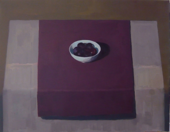 "<h4 style=""margin:0px 0px 5px 0px"">Plums on a purple cloth by David Moore</h4>Medium: Oil on linen framed<br />Price: $5,000 