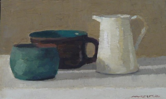 "<h4 style=""margin:0px 0px 5px 0px"">White jug with cups by David Moore</h4>Medium: Oil on canvas on board<br />Price: Sold<span class=""helptip"" style=""color:#ff0000;"" title=""This artwork been sold""><img src=""/images/reddot1.gif"" border=""0"" height=""10"" /></span> 
