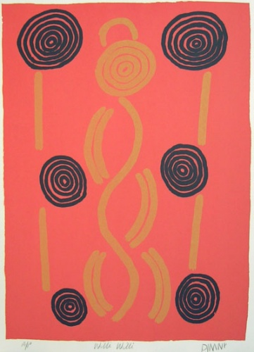 "Willi Willi<br /><br />Medium: Screenprint<br />Price: $950<br /><a href=""Artwork-Nolan-WilliWilli-1157.htm"">View full artwork details</a>"