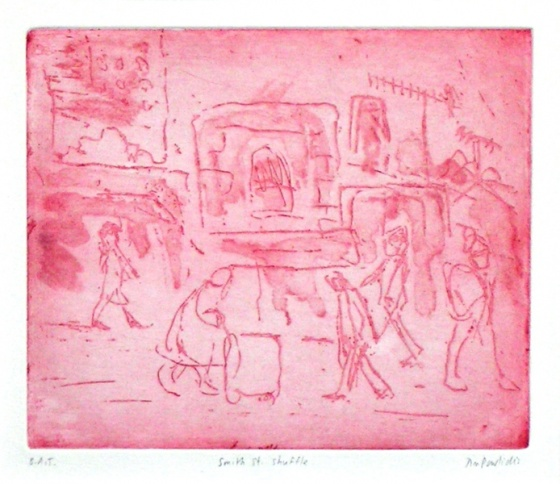 "<h4 style=""margin:0px 0px 5px 0px;"">Smith Street Shuffle</h4>Medium: Etching<br />Price: $400 <span style=""color:#aaa"">