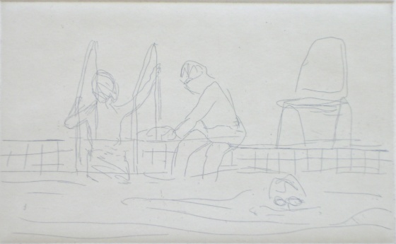 "<h4 style=""margin:0px 0px 5px 0px"">Swimming lesson by Jim Pavlidis</h4>Medium: Etching<br />Price: $330 