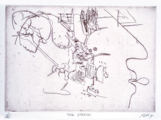 "<h4 style=""margin:0px 0px 5px 0px;"">The Speech</h4>Medium: Drypoint<br />Price: $400 <span style=""color:#aaa"">