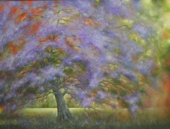 "<h4 style=""margin:0px 0px 5px 0px"">Ingrida Rocis - Jacaranda, Macedon Smoke by Ingrida Rocis</h4>Medium: Oil on canvas<br />Price: $3,000 