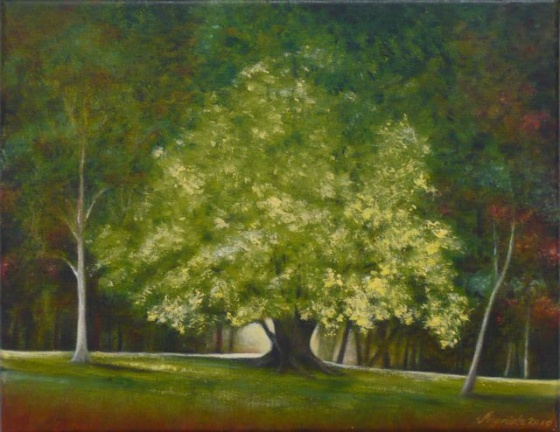 "<h4 style=""margin:0px 0px 5px 0px"">Yellow Tree Macedon by Ingrida Rocis</h4>Medium: Oil on canvas<br />Price: $1,200 