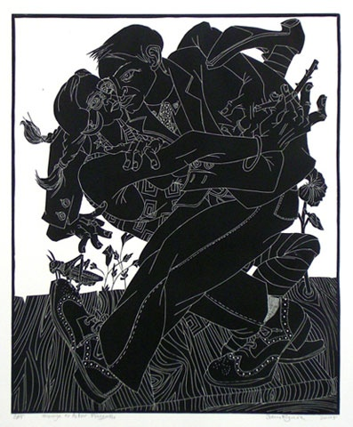 "<h4 style=""margin:0px 0px 5px 0px;"">Homage to Astor Piazzolla</h4>Medium: Linocut<br />Price: $700 <span style=""color:#aaa"">