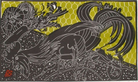"<h4 style=""margin:0px 0px 5px 0px;"">Rooster &amp; Jewel</h4>Medium: Linocut<br />Price: $450 <span style=""color:#aaa"">