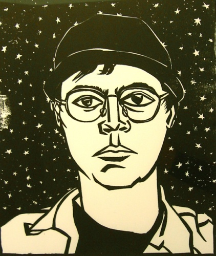 "<h4 style=""margin:0px 0px 5px 0px;"">Self Portrait (1997)</h4>Medium: Woodcut<br />Price: $400 <span style=""color:#aaa"">