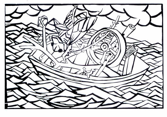 "<h4 style=""margin:0px 0px 5px 0px"">Some Stuff in a Boat</h4>Medium: Woodcut<br />Price: $550 
