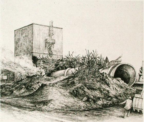 "Demolition Port Melbourne IV<br /><br />Medium: Etching &amp; drypoint<br />Price: $550<br /><a href=""Artwork-Scurry-DemolitionPortMelbourneIV-2145.htm"">View full artwork details</a>"
