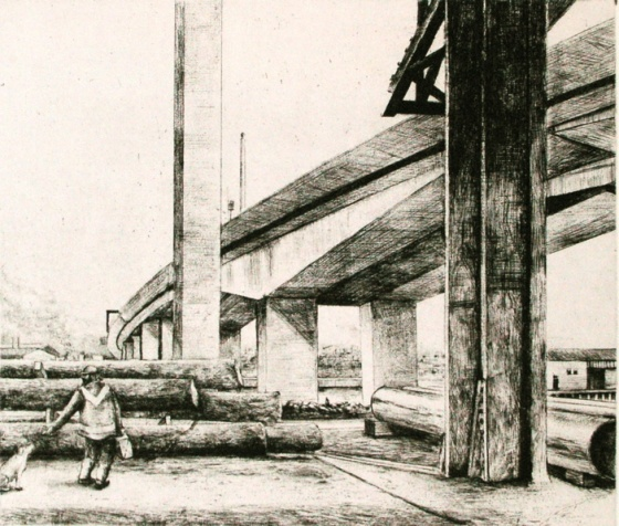 "Figure and Bolte Bridge<br /><br />Medium: Etching &amp; drypoint<br />Price: $550<br /><a href=""Artwork-Scurry-FigureandBolteBridge-2150.htm"">View full artwork details</a>"