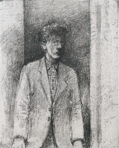 "<h4 style=""margin:0px 0px 5px 0px;"">Man in doorway</h4>Medium: Etching<br />Price: $350 <span style=""color:#aaa"">