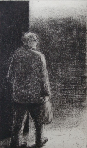 "Man with bag<br /><br />Medium: Etching<br />Price: $350<br /><a href=""Artwork-Scurry-Manwithbag-2155.htm"">View full artwork details</a>"
