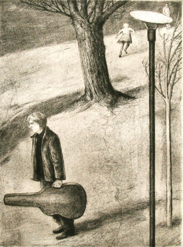 "Man with guitar<br /><br />Medium: Etching<br />Price: $450<br /><a href=""Artwork-Scurry-Manwithguitar-2156.htm"">View full artwork details</a>"