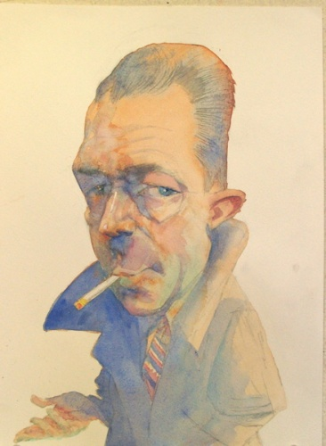 "<h4 style=""margin:0px 0px 5px 0px"">Albert Camus</h4>Medium: Watercolour<br />Price: Sold 