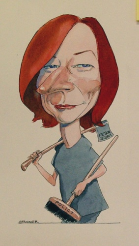 "Julia Gillard<br /><br />Medium: Ink & watercolour<br />Price: $850<br /><a href=""Artwork-Spooner-JuliaGillard-1617.htm"">View full artwork details</a>"