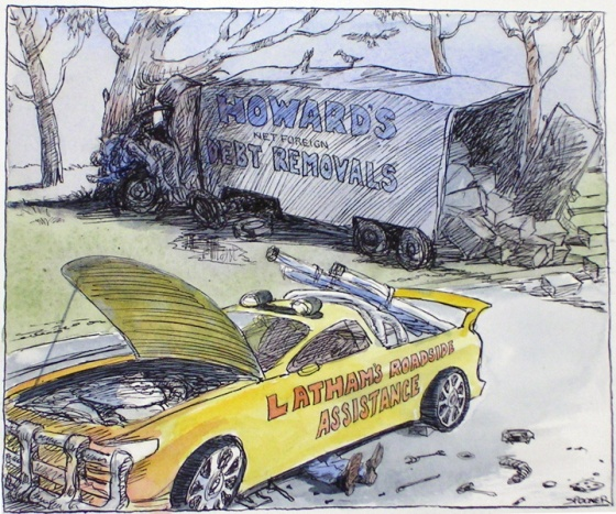 "Latham's Roadside Assistance<br /><br />Medium: Pen &amp; ink &amp; watercolour<br />Price: Sold<br /><a href=""Artwork-Spooner-Latham039;sRoadsideAssistance-943.htm"">View full artwork details</a>"