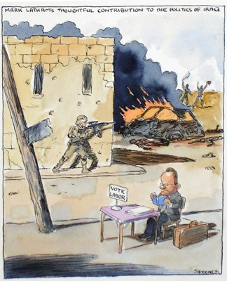 "<h4 style=""margin:0px 0px 5px 0px;"">Latham on Iraq</h4>Medium: Pen & ink & watercolour<br />Price: Sold <span style=""color:#aaa"">