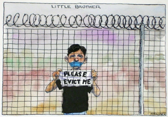 "Little brother<br /><br />Medium: Pen &amp; ink &amp; watercolour<br />Price: Sold<br /><a href=""Artwork-Spooner-Littlebrother-957.htm"">View full artwork details</a>"