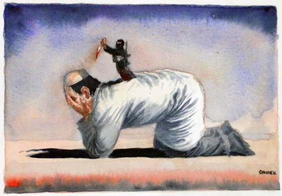 "Moderate Islam<br /><br />Medium: Watercolour<br />Price: Sold<br /><a href=""Artwork-Spooner-ModerateIslam-964.htm"">View full artwork details</a>"