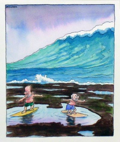 "Pool surfing<br /><br />Medium: Pen &amp; ink &amp; watercolour<br />Price: Sold<br /><a href=""Artwork-Spooner-Poolsurfing-939.htm"">View full artwork details</a>"