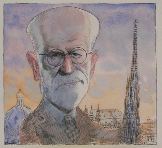 "Sigmund Freud<br /><br />Medium: Ink & watercolour<br />Price: Sold<br /><a href=""Artwork-Spooner-SigmundFreud-1637.htm"">View full artwork details</a>"