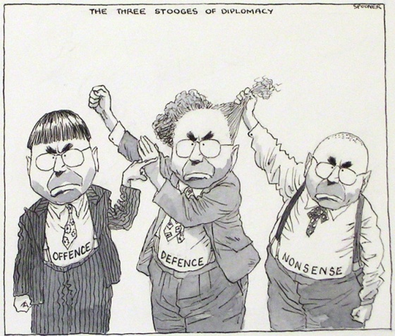 "The Three Stooges of Diplomacy<br /><br />Medium: Pen &amp; ink &amp; watercolour<br />Price: Sold<br /><a href=""Artwork-Spooner-TheThreeStoogesofDiplomacy-950.htm"">View full artwork details</a>"